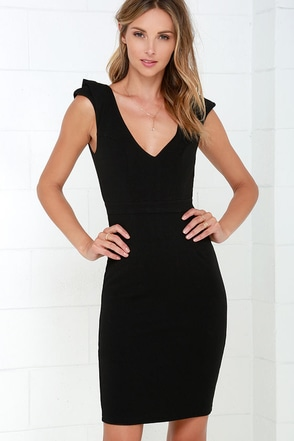 Briefcase Belle Black Midi Dress at Lulus.com!