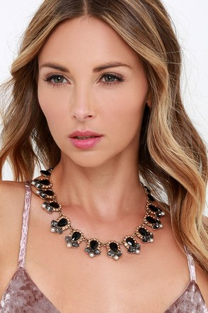 Get Glam Black Rhinestone Statement Necklace at Lulus.com!