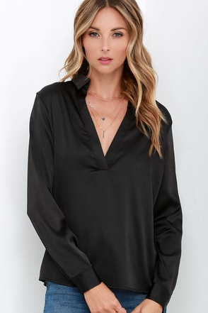 Boulevard Beaut Olive Green Satin Long Sleeve Top at Lulus.com!