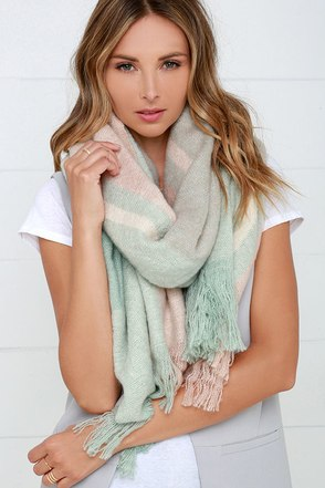 Fool For You Mint and Blush Pink Plaid Scarf at Lulus.com!