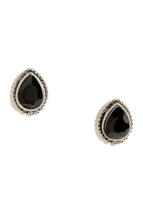 Sugarpush Silver and Black Rhinestone Earrings at Lulus.com!