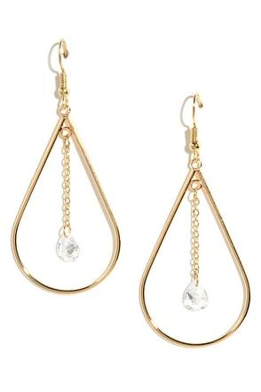 Drip Drop Dreams Gold Rhinestone Earrings at Lulus.com!