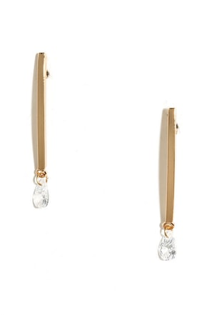 Contour Allure Gold Rhinestone Earrings at Lulus.com!