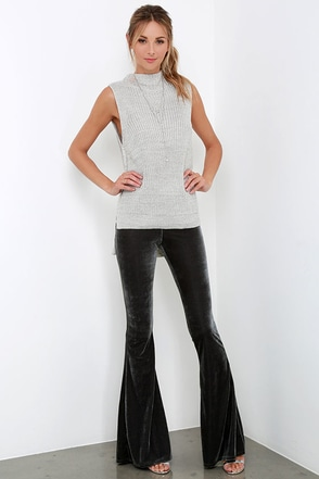 Shagadelic Grey Velvet Flare Pants at Lulus.com!