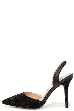 Majesty Black Pearl Slingback Rhinestone Heels at Lulus.com!