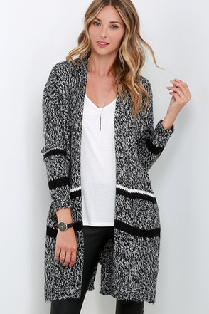 All the Warm Reason Black and Ivory Cardigan Sweater at Lulus.com!
