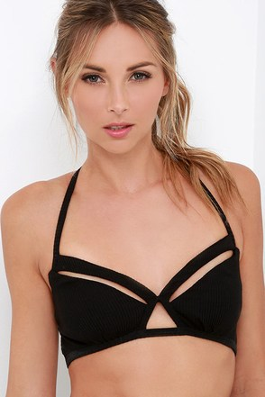RVCA Basically So Strappy Black Bralette at Lulus.com!