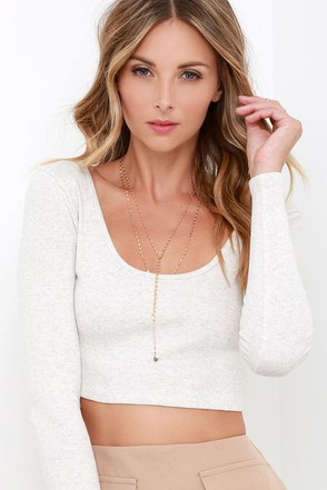 Billabong Shining Through Heather Grey Crop Top at Lulus.com!