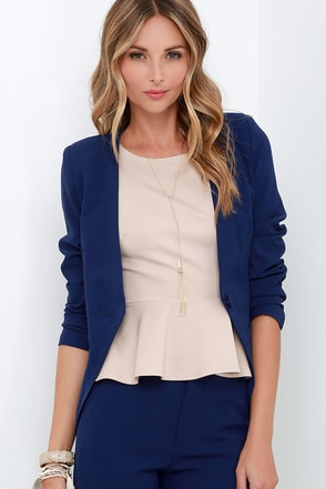 Team Leader Navy Blue Cropped Blazer at Lulus.com!