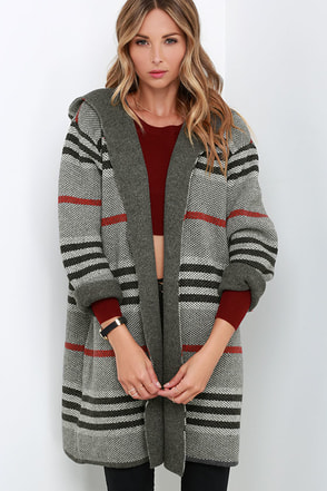 Remain Wild Grey Striped Sweater Jacket at Lulus.com!