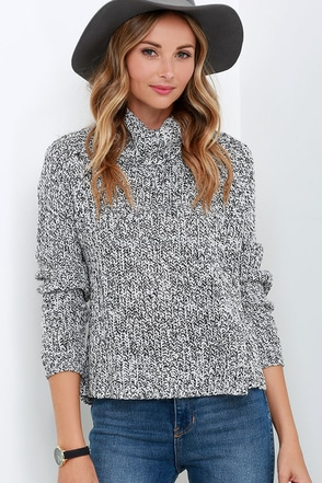 Static Spiral Black and Ivory Sweater at Lulus.com!