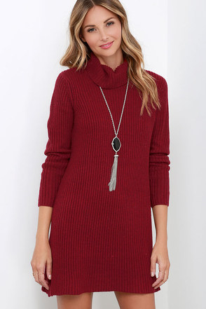Glamorous Comfort Zone Wine Red Sweater Dress at Lulus.com!