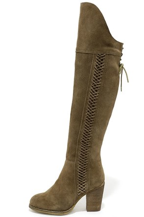 Sbicca Gusto Khaki Suede Leather Over the Knee Boots at Lulus.com!
