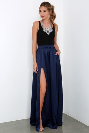 'Twas a Dream Navy Blue Maxi Skirt at Lulus.com!