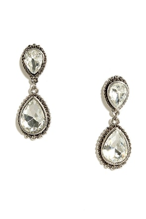 Astute Courtier Silver Rhinestone Earrings at Lulus.com!