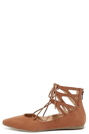 Ballet Barre Cognac Suede Lace-Up Flats at Lulus.com!