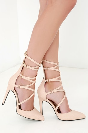 Hot on Your Heels Nude Snakeskin Caged Heels at Lulus.com!