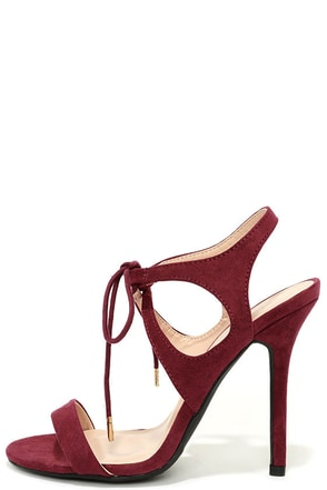 Forever Young Wine Red Lace-Up Heels at Lulus.com!