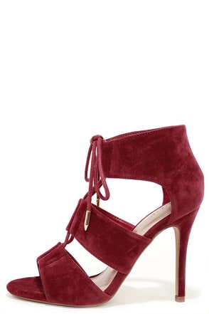 Party Lingo Wine Red Lace-Up Heels at Lulus.com!