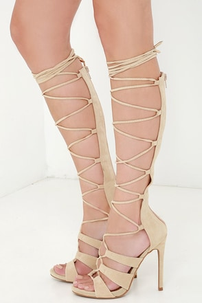 All the Way Up Camel Nude Lace-Up Heels at Lulus.com!