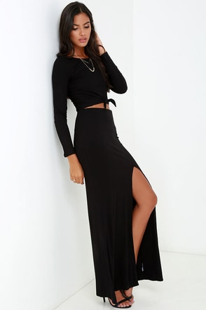 Amuse Society Farron Black Maxi Skirt at Lulus.com!