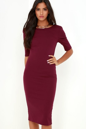 We Built This Midi Burgundy Midi Dress at Lulus.com!
