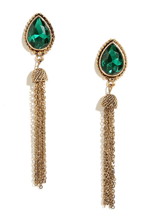 Tear and There Gold and Mauve Rhinestone Tassel Earrings at Lulus.com!