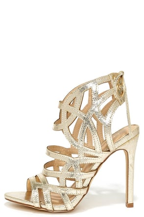 Awe or Nothing Gold Caged Lace-Up Heels at Lulus.com!