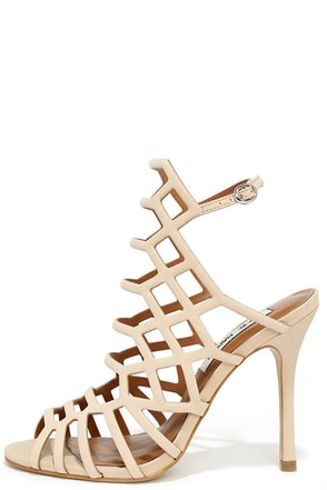 Steve Madden Slithur Blush Nubuck Leather Caged Heels at Lulus.com!