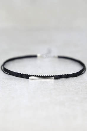 Wicked Cute Black and Silver Choker Necklace at Lulus.com!