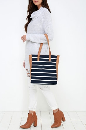 Atlantic Air Tan and Navy Blue Striped Tote at Lulus.com!