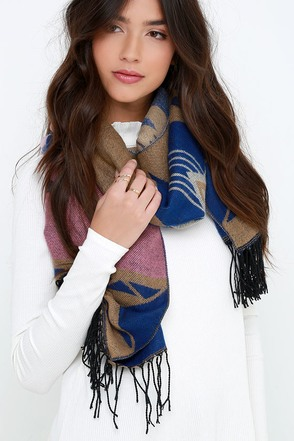 Pow Wow Factor Blue and Pink Southwest Print Scarf at Lulus.com!