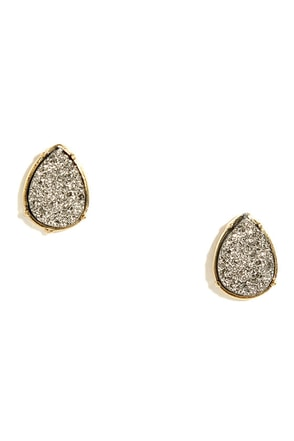 Rock of Ages Gunmetal Earrings at Lulus.com!