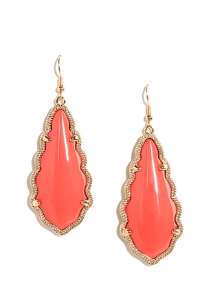 Zealous Zingara Gold and Coral Pink Earrings at Lulus.com!