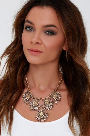 Paradise Frost Blush Rhinestone Statement Necklace at Lulus.com!