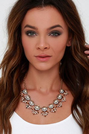 Vision in Pearls Peach Rhinestone Statement Necklace at Lulus.com!