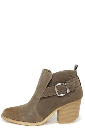Suede Your Decision Grey Suede Ankle Booties at Lulus.com!