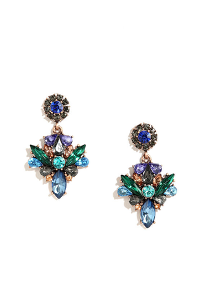 Light Show Blue Rhinestone Earrings at Lulus.com!