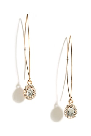 Magic Wand Gold Rhinestone Threader Earrings at Lulus.com!