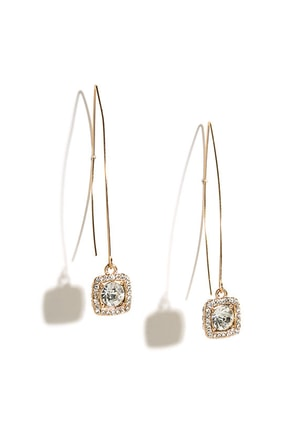 Lure You In Gold Rhinestone Threader Earrings at Lulus.com!