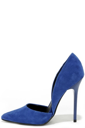 Steve Madden Varcityy Blue Suede Leather D'Orsay Pumps at Lulus.com!