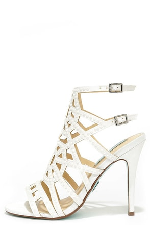 Blue by Betsey Johnson Corey Ivory Satin Beaded Caged Heels at Lulus.com!
