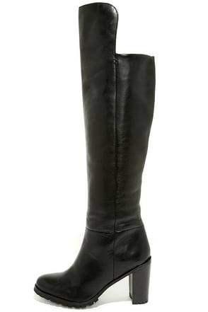 Seychelles Alexandrite Black Leather Knee High Heel Boots at Lulus.com!