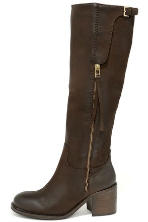 Steve Madden Antsy Brown Leather Knee-High Boots at Lulus.com!