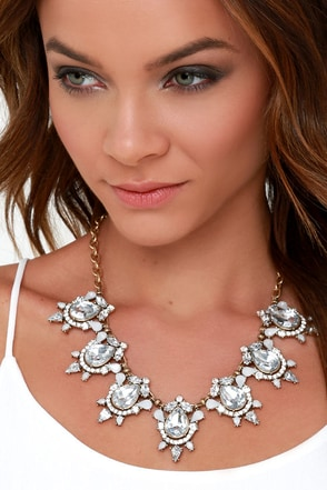 Weekend Merriment Clear Rhinestone Statement Necklace at Lulus.com!
