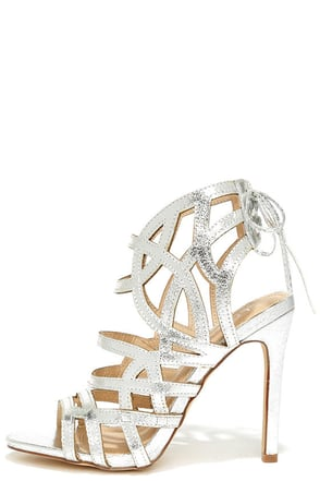 Awe or Nothing Silver Caged Lace-Up Heels at Lulus.com!