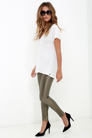 Future Luxe Bronze Vegan Leather Leggings at Lulus.com!