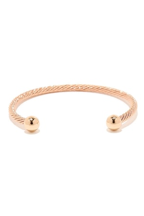 Round the Twist Rose Gold Bracelet at Lulus.com!