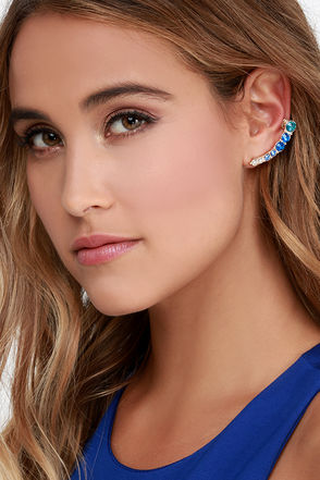 Tone Up the Music Blue Rhinestone Cuff Earrings at Lulus.com!