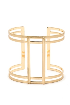 Column of Cute Gold Cuff Bracelet at Lulus.com!